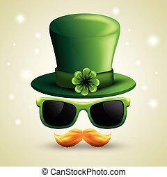 patrick, lunettes soleil, chapeau, moustache, rue