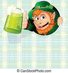 Patrick Poster - Cartoon Leprechaun with mug of green ale,...