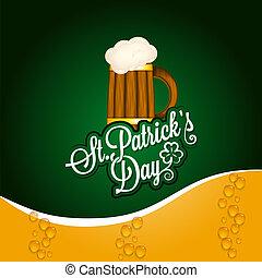 patrick, tazza birra, fondo, vendemmia, giorno