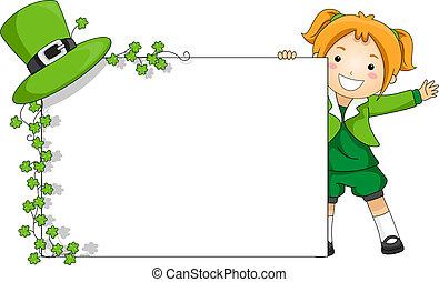 patrick-themed, st., bandiera, ragazza, presa a terra