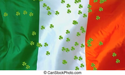 patricks, animation, trèfles, drapeau, fond, irlandais,...