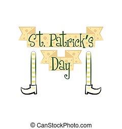 patricks, bannière, jour, saint