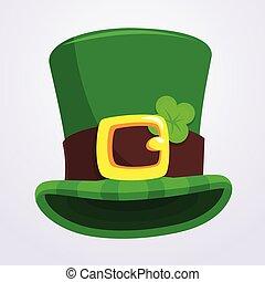 patrick's, chapeau blanc, rue., jour, vert, quatre-feuille, fond, isolé, trèfle