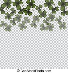 Patrick's day. Image translucent clover leaves on top. Background checkered. illustration