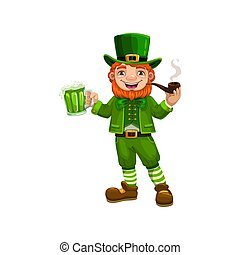 Patricks day leprechauns with beer smoking pipe