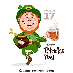 Patricks day poster with leprechaun dancing with a beer and a pot of gold coins on a white background