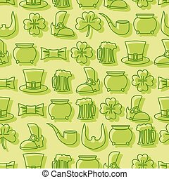 Patricks day seamless pattern. Background for Irish holiday. Accessories for leprechauns. Pot of gold and hat cylinder. Pipe and mug of beer. Beard and an old shoe. Linear icons St. Patrick's day