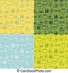 Patricks Day seamless pattern. Set of backgrounds fo  holiday in Ireland. Pot of gold and four lfour leaf clover. Mug of beer and an old shoe. Leprechaun beard and hat cylinder. Ornament for 17 March