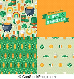 Patrick's Day seamless patterns set with traditional symbols.