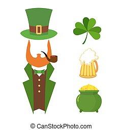 Patricks day set of elements. Green clover. Mug with beer. Big Green pot of gold. Treasures of leprechaun. Leprechaun Hat cylinder. National Irish holiday St. Patrick's day