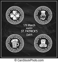 Patricks Day stamps on black chalkboard background