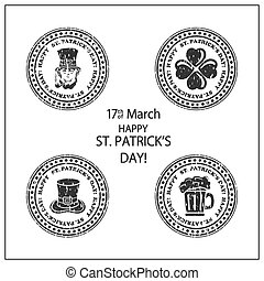 Patricks Day stamps on white background