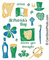 Patricks Day symbol set in lino style - Patricks Day symbol...