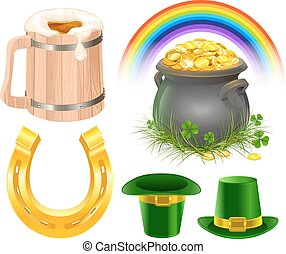 Patricks Day Symbols. Mug of irish beer, rainbow, leprechaun...