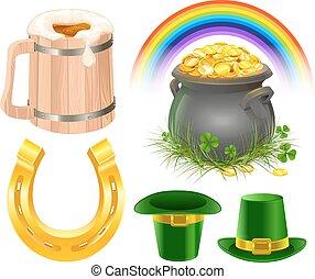 Patricks Day Symbols. Mug of irish beer, rainbow, leprechaun...