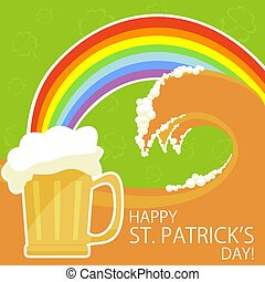 Patricks day theme with beer and rainbow