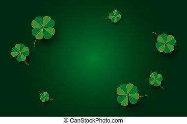 patrick's, feuilles, vecteur, rue, illustration, jour, conception, vert, bannière, fond, trèfle