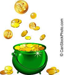 patrick`s, gold, str., geldmünzen, tag, vektor, grün, topf