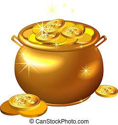 patrick`s, goud, pot, muntjes, straat., vector, dag