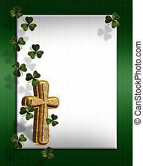 patricks, irisch, umrandungen, tag, st