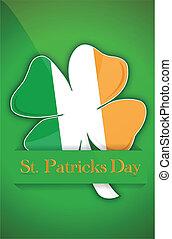 patricks, irlandais, jour, saint, trèfle