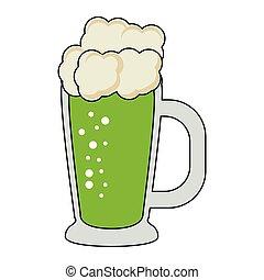 patricks, irlandese, st, birra, cartone animato