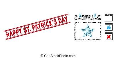 patrick's, linea, graffiato, collage, favourites, felice, st., francobollo, giorno, pagina, calendario, icona