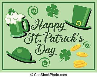 patrick's, patrick?s, testo, st., birra, -, augurio, celebrazione, st, trifoglio, vetro, cappelli, vettore, verde, fiori, giorno, felice