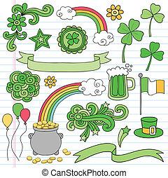patricks st, vetorial, doodles, dia, ícone