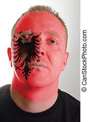 patriot, albanië, geverfde, vlag, gezicht, kleuren, serieuze , man