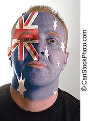 patriot, australië, geverfde, vlag, gezicht, kleuren, serieuze , man