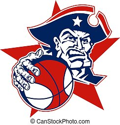 patriot basketball team design with mascot player for school, college or league