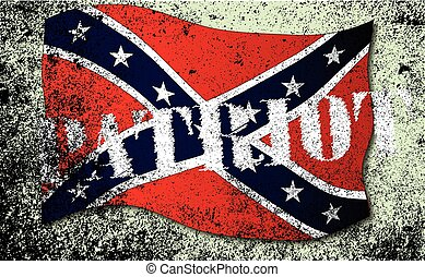 Confederate flag, with the text patriot over a grunge effect