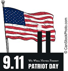 Patriot Day American Flag stripes background.