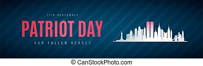 Patriot Day anniversary banner. Twin Towers in New York City Skyline. September 11, 2001 National Day of Remembrance. Vector illustration.