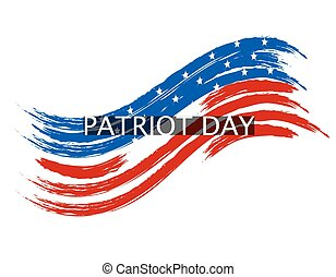 Patriot Day wave in colors of the national flag on a white background. Inscription. illustration