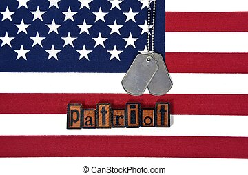 patriot dog tags on flag
