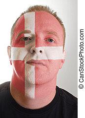 patriot, geverfde, denemarken vlag, gezicht, kleuren, serieuze , man