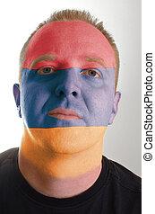 patriot, geverfde, vlag, gezicht, kleuren, armenië, serieuze , man