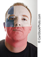 patriot, geverfde, vlag, gezicht, kleuren, chili, serieuze , man