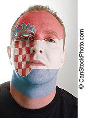 patriot, geverfde, vlag, gezicht, kleuren, kroatië, serieuze , man