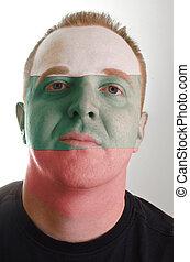 patriot, geverfde, vlag, gezicht, kleuren, serieuze , man, bulgarije