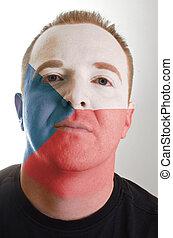 patriot, geverfde, vlag, gezicht, tsjech, kleuren, serieuze , man