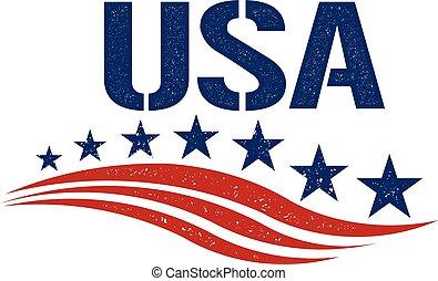 patriot, grafik, usa, weinlese, abbildung, vektor, logo.
