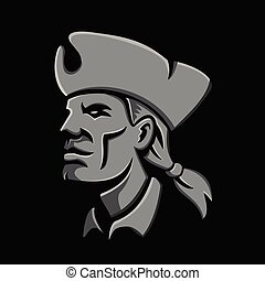 patriot-head-side-HEAD-CARVE - Metallic style flat icon or...
