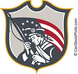 Patriot Holding American Flag Shield Retro