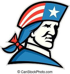 patriot-USA-flag-hat-MASCOT - Mascot icon illustration of...