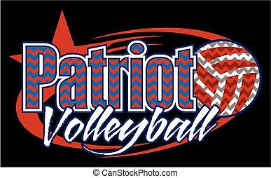 patriot volleyball team design with ball and chevrons for...
