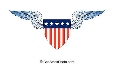 Patriot Wings, American Flag Badge Shield with stripes and stars, Independence Day Concept, Vector illustration isolated on white background