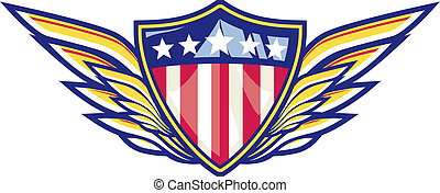 Patriot Wings - Iconic red, white and blue shield with...